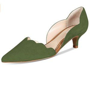 YDN Classic Pointy Toe Kitten Pumps Slip-on Suede